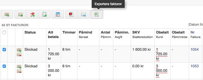 exportera fakturor