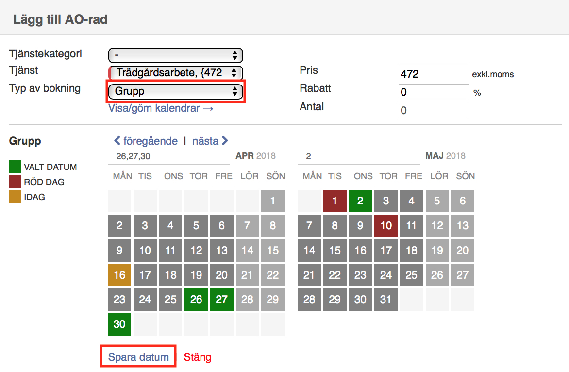 TimeWave affärssystem - gruppbokning